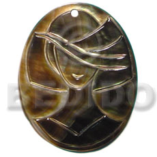 Oval black lip tiger Carved Pendants
