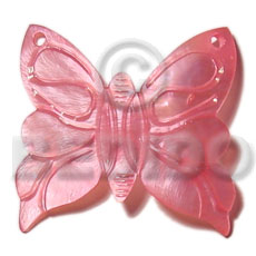 hand made Pink hammershell 50mm butterfly Carved Pendants
