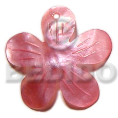 40mm pink flower hammershell Carved Pendants
