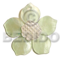 45mm light green hammershell flower Carved Pendants