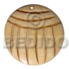 40mm round grooved natural white Carved Pendants