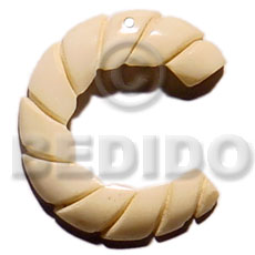 40mm grooved natural white bone