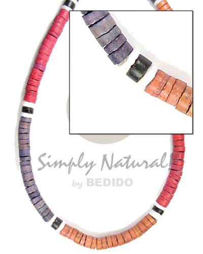 4-5mm coco heishe lilac re black orange wht Choker Necklace
