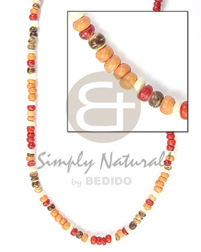 2-3mm coco pokalet brwn tan red wht combinationnation Choker Necklace
