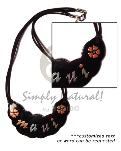 Handpainted 75mmx35mm souvenir blacktab shell Choker Necklace
