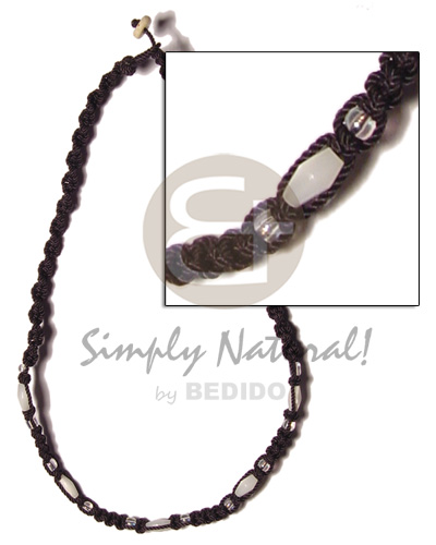 hand made Troca beads in black macrame Choker Necklace