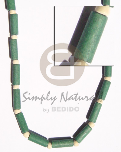hand made Green wood tube pukalet Choker Necklace