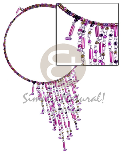 Dangling lavender tones glass beads Choker Necklace