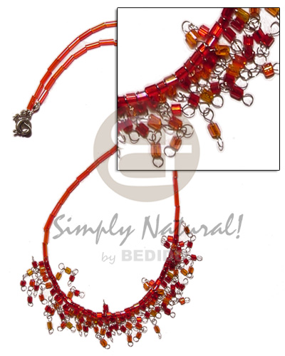 Glass beads in red tones Choker Necklace