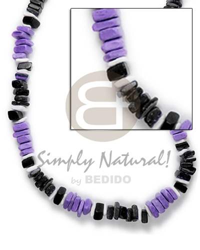 Sq cut lavender black nat combination white Choker Necklace