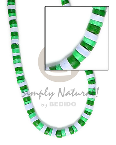 4-5mm coco heishe bleach white green Choker Necklace
