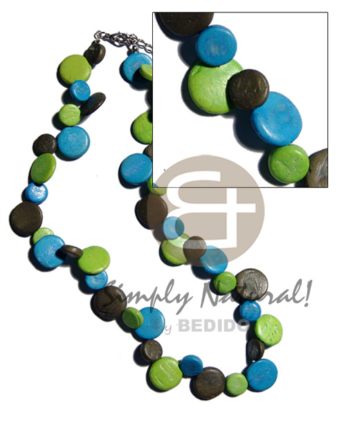 Single row black blue green coco sidedrill Choker Necklace