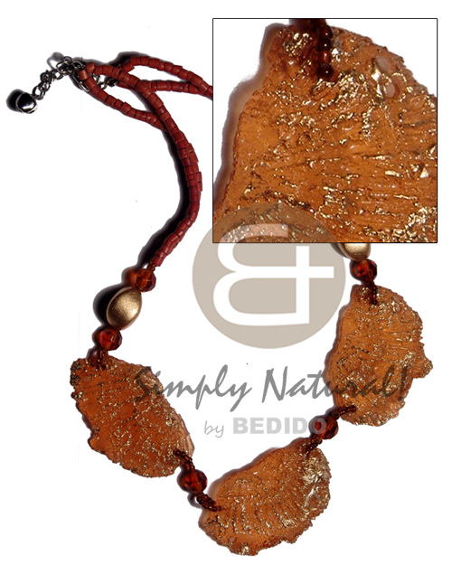 2-3mm rust coco heishe Choker Necklace