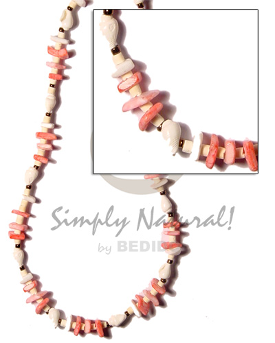Pink white sq. cut 2-3 Choker Necklace