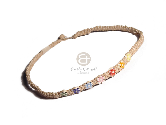 abaca macrame choker  floral accent - Choker Necklace
