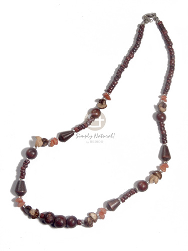 dark reddish brown 4-5mm coco Pokalet  wood beads, coco quarter moon and buri nuggets combination - Choker Necklace