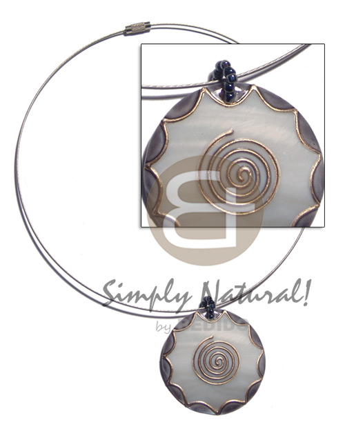 coated silver cable wire handpainted and colored round 55mm kabibe shell pendant embellished  elevated /embossed metallic paint accent lines / nat. white, gray and gold tones - Choker Necklace
