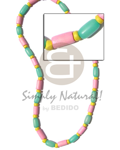 hand made Pastel green buri tube pink Choker Necklace
