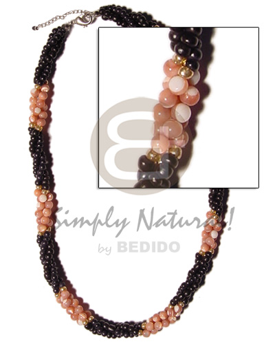 Twisted black coco pokalet Choker Necklace