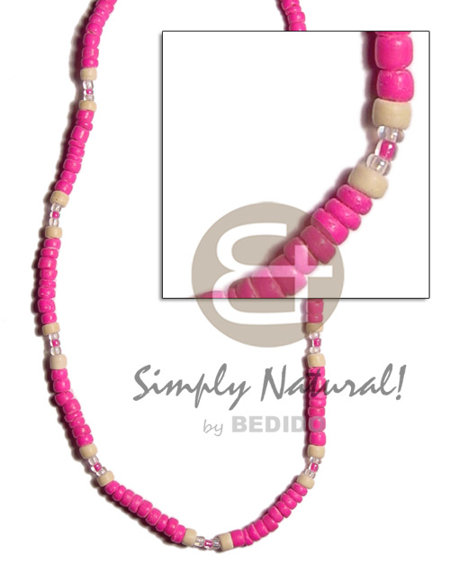 hand made Fuschia pink 4-5 coco pokalet Choker Necklace