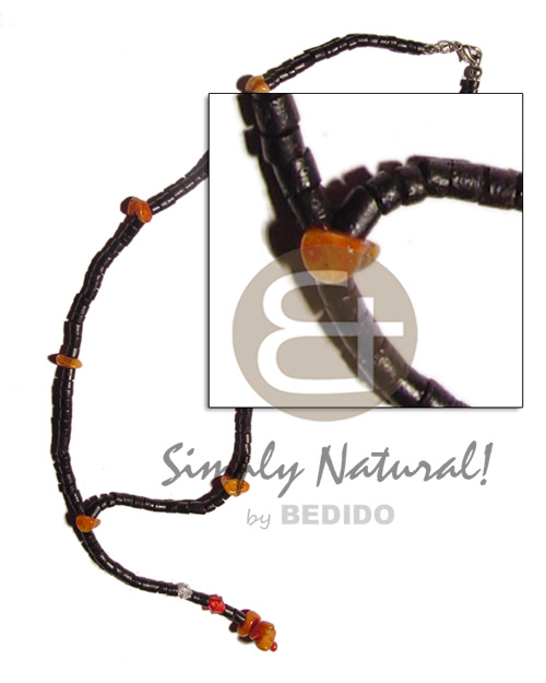 2-3mm black coco heishe tassle Choker Necklace
