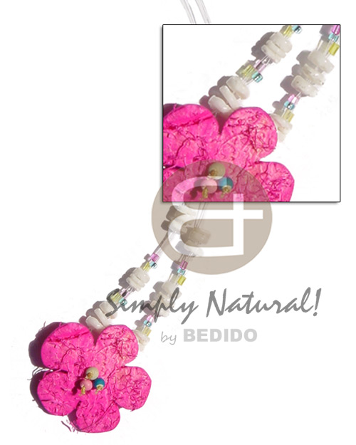 Floating pink coco flower Choker Necklace