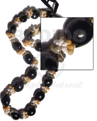22 pcs. black kukui nuts Chunky Necklace
