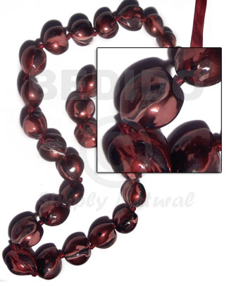 Kukui nuts marbleized metallic Chunky Necklace