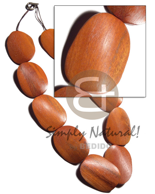 30mmx40mmx6mm redwood / sibucao twisted  antique t-locks / 10 pcs / 20 in. - Chunky Necklace