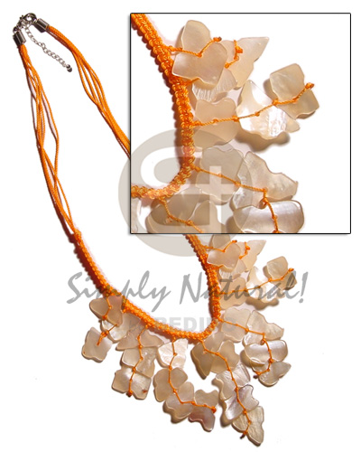 Orange cleopatra macrame dangling Cleopatra Necklace
