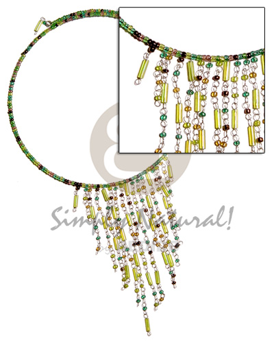 Dangling green tones glass beads Cleopatra Necklace