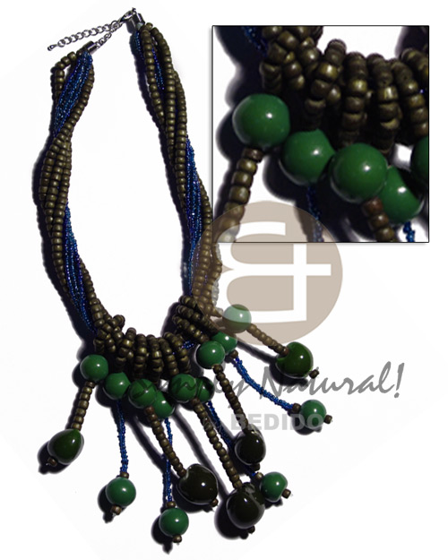 5 rows glass beads 3 Cleopatra Necklace