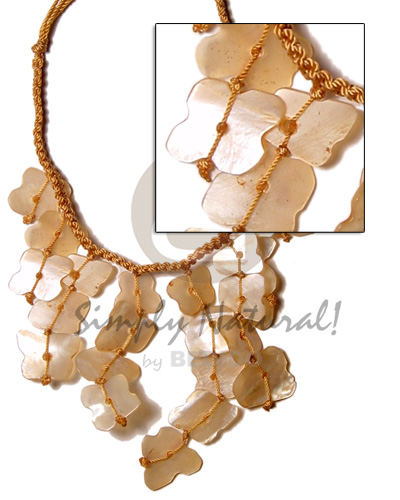Tan macramie dyed dangling Cleopatra Necklace