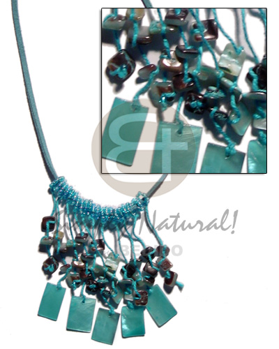 hand made Spaghetti necklace dangling aqua blue 20mmx15 Cleopatra Necklace