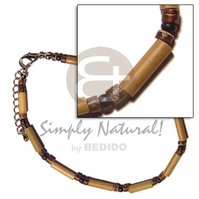 bamboo  4-5mm coco Pokalet. nat. brown & black alt. - Coco Anklets