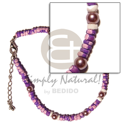 hand made 4-5mm violet coco splashing Coco Anklets