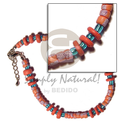 hand made 4-5mm orange coco pokalet. Coco Anklets