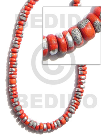 4-5mm coco pokalet. red orange Coco Beads