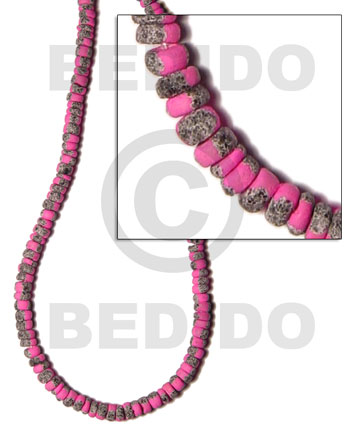 hand made 4-5mm coco pokalet. bright pink Coco Beads
