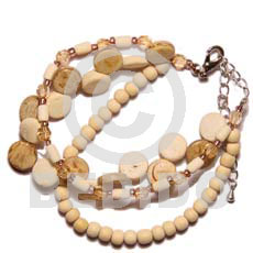 hand made 3 rows sidedrill coco natural bleach wood Coco Bracelets
