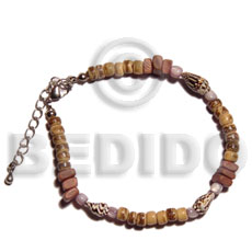 Tan sq. cut 4-5mm coco pokalet. Coco Bracelets