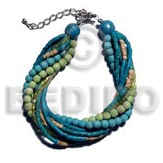 Twisted 4 rows aquamarine 2-3mm Coco Bracelets