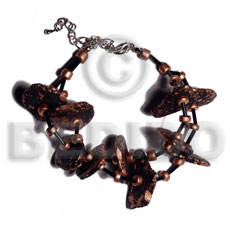 hand made Black coco nuggets in metallic Coco Bracelets