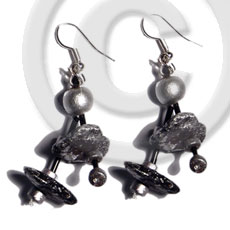Dangling double row black coco Coco Earrings