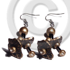 hand made Dangling double row black coco Coco Earrings