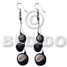 hand made Dangling 10mm 15mm black Coco Earrings
