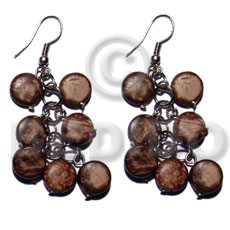 Dangling 10mm natural brown coco Coco Earrings