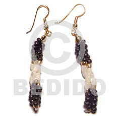 Dangling twisted troca rice beads Coco Earrings