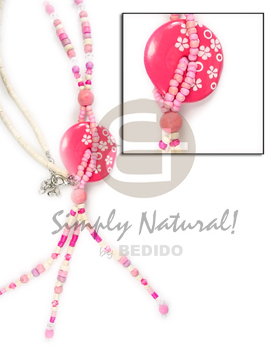 Pink 3 tassle disc Coco Necklace