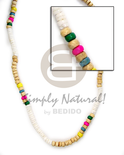 4-5mm wht shell grn nat wht grn pink yel blu coco Coco Necklace